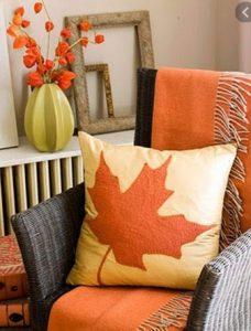 καλυμμα καναπε με φυλα φθινοπωρινα