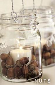 καρυδια σε βαζο με κερια