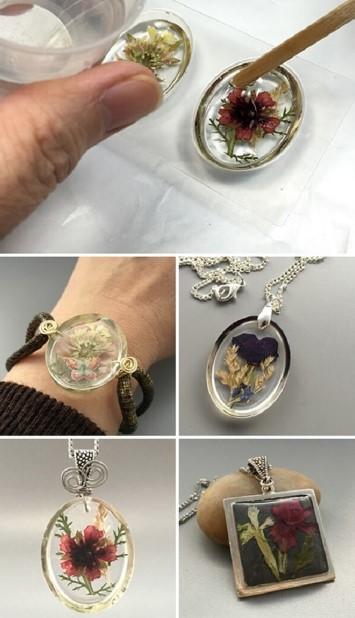κοσμήματα από αποξηραμένα λουλούδια