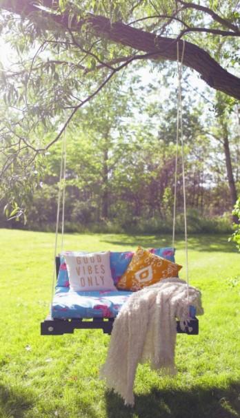 κούνια δέντρο παλέτα καθίσματα κήπος