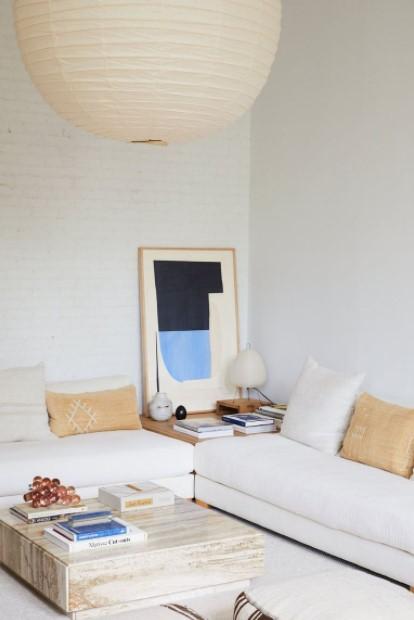 κρεμαστό άσπρο φωτιστικό άσπρο σαλόνι
