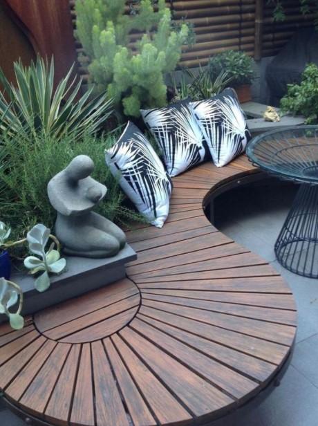 ξύλινο παγκάκι σχήμα S καθίσματα κήπος
