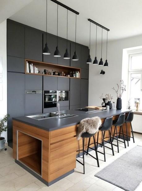μοντέρνα κουζίνα σε μαύρο χρώμα