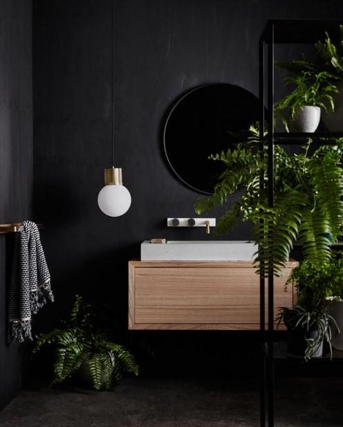 μαύρο μπάνιο decor