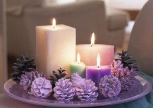 συνθεση με κερια και κουκουναρια