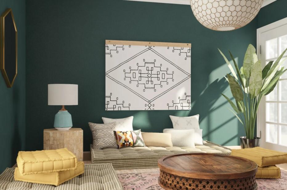 σαλόνι μαξιλάρες πράσινος τοίχος κανόνες διακόσμησης δεν πρέπει ακολουθείς