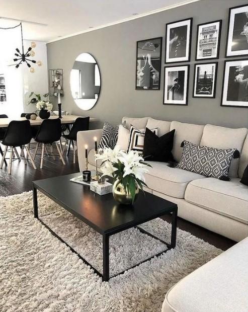 σαλόνι με μαύρα έπιπλα