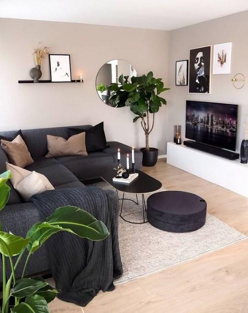 σαλόνι με μαύρη διακόσμηση