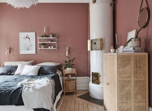 τερακότα χρώμα τοίχου κρεβατοκάμαρας