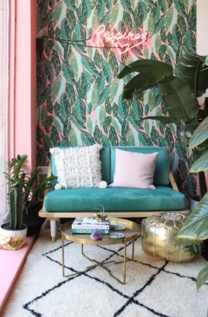 τροπική ταπετσαρία πράσινος καναπές