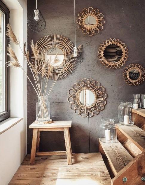 boho καθρέπτες τοιχο