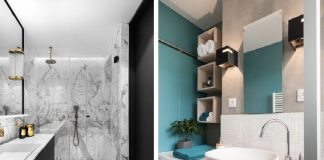 μοντέρνα διακόσμηση μπάνιου με διχρωμία