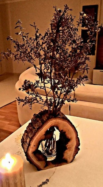 βάζο από κορμό δέντρου