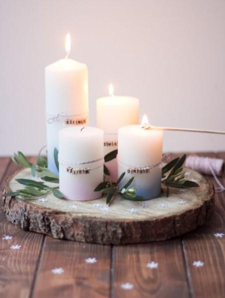 κεριά σε δίσκο φύλλα