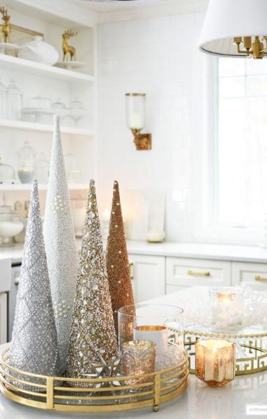 κομψά δεντράκια δίσκος τραπέζι τραπεζάκι σαλονιού Χριστούγεννα