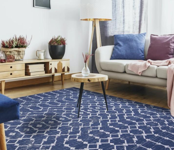 σαλόνι καναπές μπλε χαλί