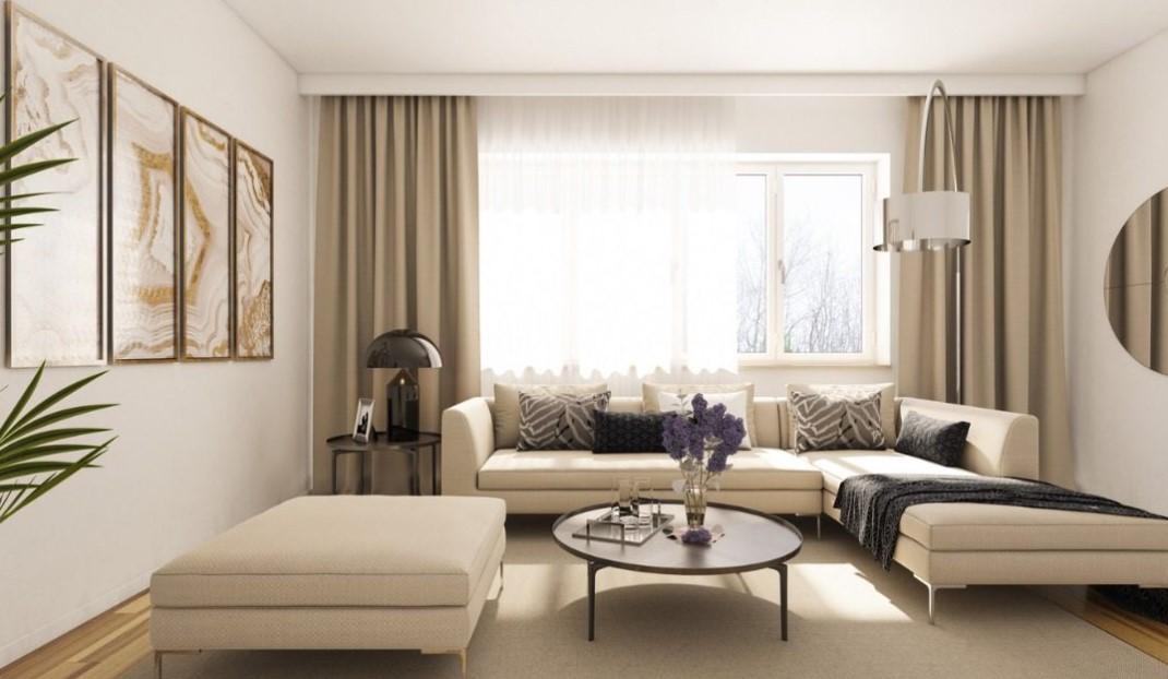 σαλόνι μπεζ χρώμα καναπές ζεστάνεις σπίτι