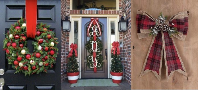 χριστουγεννιάτικη διακόσμηση με κορδέλα