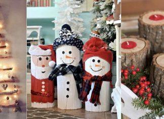χριστουγεννιάτικη διακόσμηση με κορμούς