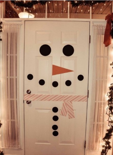 χριστουγεννιάτικη διακόσμηση πόρτας χιονάνθρωπος