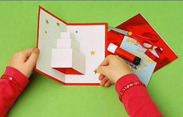 διαδικασία για να φτιάξεις χριστουγεννιάτικη κάρτα