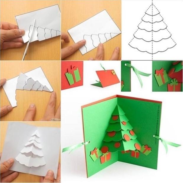 οδηγίες κατασκευής τρισδιάστατης χριστουγεννιάτικης κάρτας