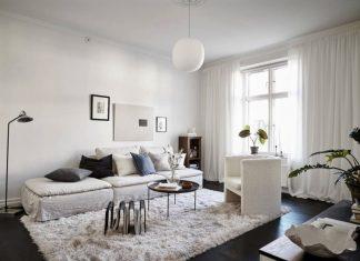 σαλόνι λευκός καναπές κουρτίνα χαλί κρατάς ζεστό σπίτι