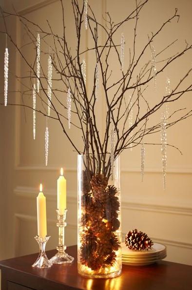 βάζο κλαδιά σταλακτίτες χριστουγεννιάτικες κατασκευές γυάλες φωτάκια
