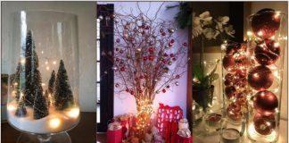 χριστουγεννιάτικες κατασκευές γυάλες φωτάκια