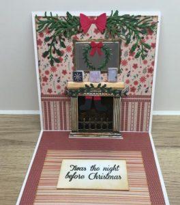 χριστουγεννιάτικη κάρτα με τζάκι