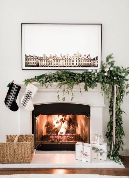 χριστουγεννιάτικο decor στο τζάκι
