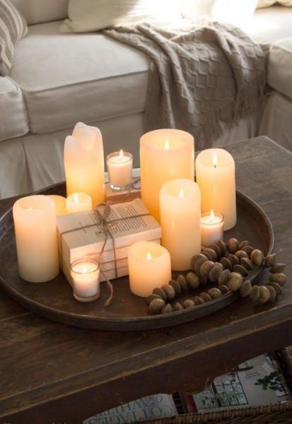 δίσκος κεριά τραπέζι