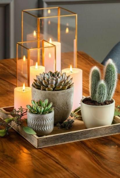 κακτάκια κεριά δίσκος διακοσμήσεις τραπεζάκι μέσης