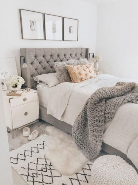 κρεβάτι γκρι κουβέρτα