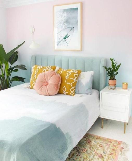 κρεβατοκάμαρα παστέλ χρώματα