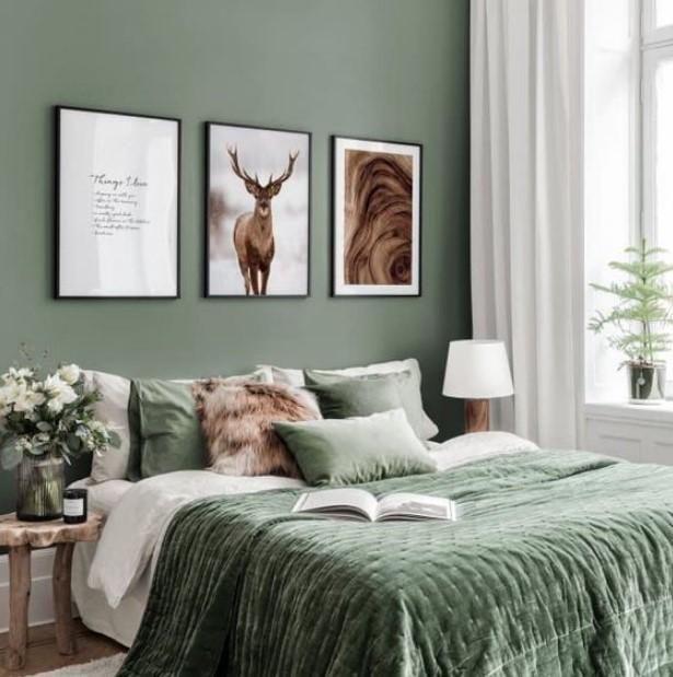 κρεβατοκάμαρα σε πράσινες αποχρώσεις