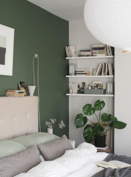 κρεβατοκάμαρα πράσινος τοίχος οικονομικοί τρόποι ανανεώσεις κρεβατοκάμαρα