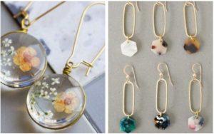 σκουλαρίκια φτιαγμένα από υγρό γυαλί