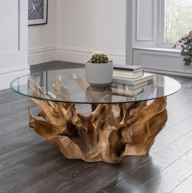 τραπέζι με ξύλινη βάση