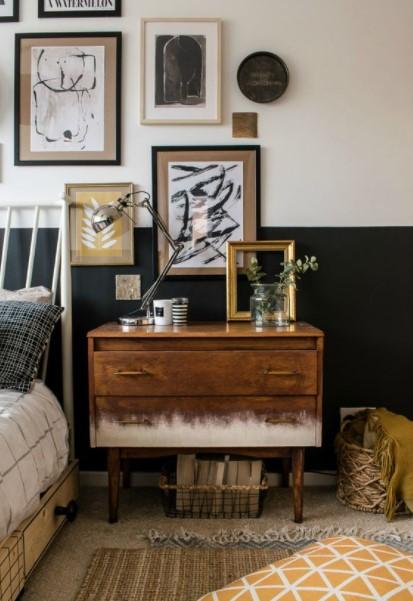 vintage κομοδίνο πίνακες ρομαντικό υπνοδωμάτιο