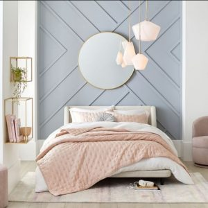 υπνοδωμάτιο σε γκρι και ροζ