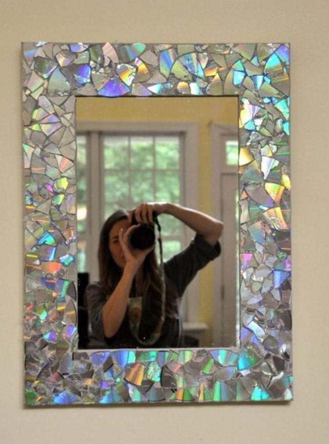 decor με cd σε καθρέφτη