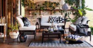 διακόσμηση με καναπέ εξωτερικού χώρου γκρι με μπεζ