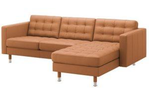 γωνιακός καναπές καπιτονέ σε χρώμα ταμπά