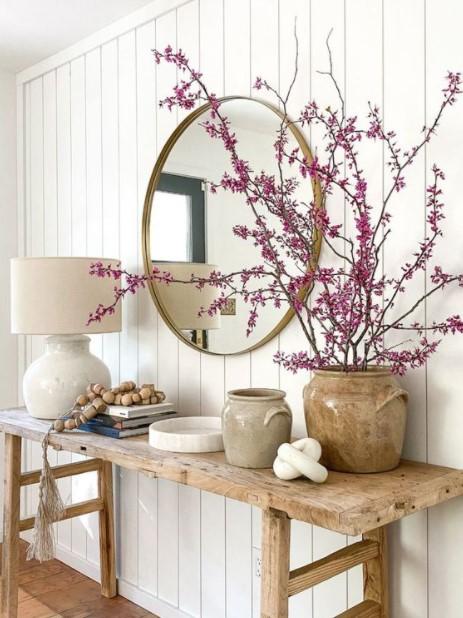 μεγάλο βάζο λουλούδια καθρέπτης διακοσμήσεις λουλούδια