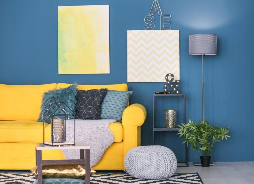 σαλονι μπλε κιτρινο