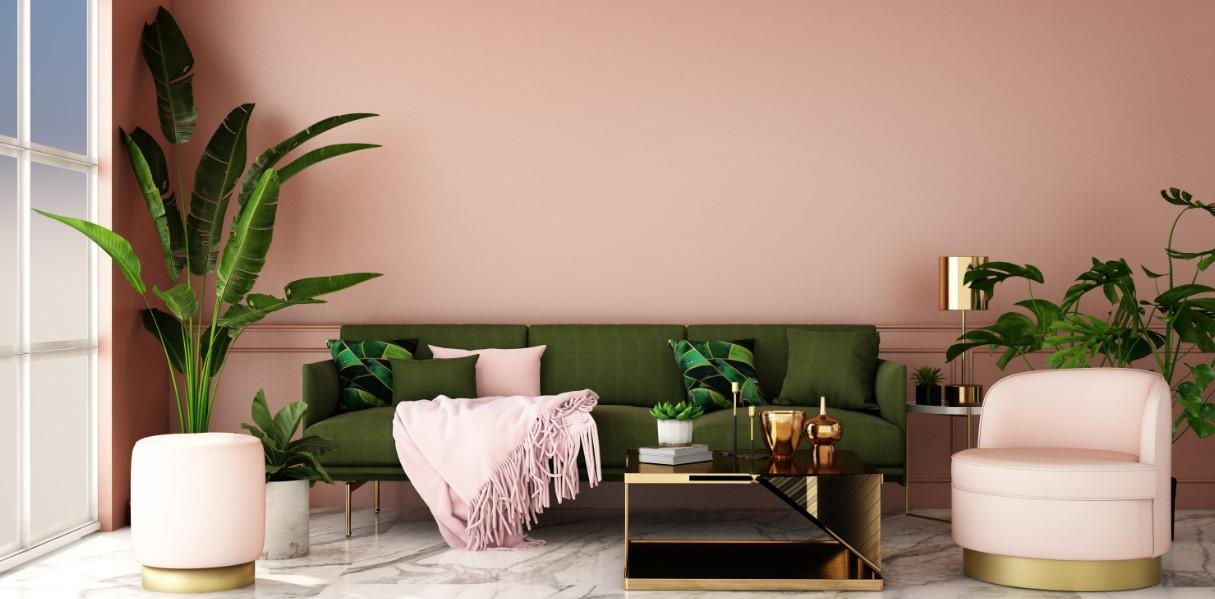 σαλονι με ροζ και πρασινο