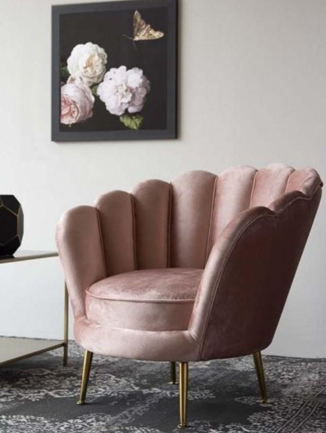 ροζ βελούδινη πολυθρόνα