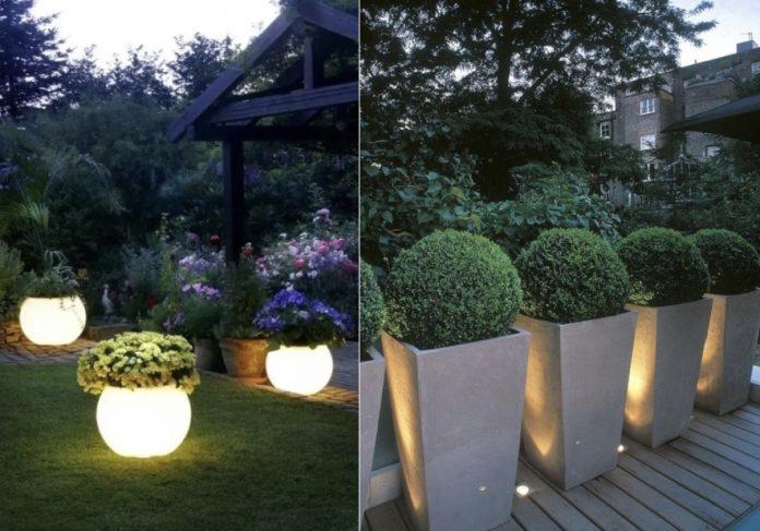 γλάστρες για κήπο με φως