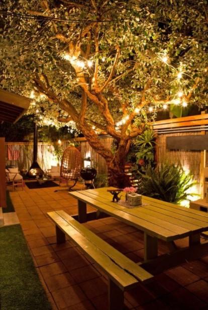 κήπος φωτισμένο δέντρο τάσεις διακόσμηση κήπου 2021